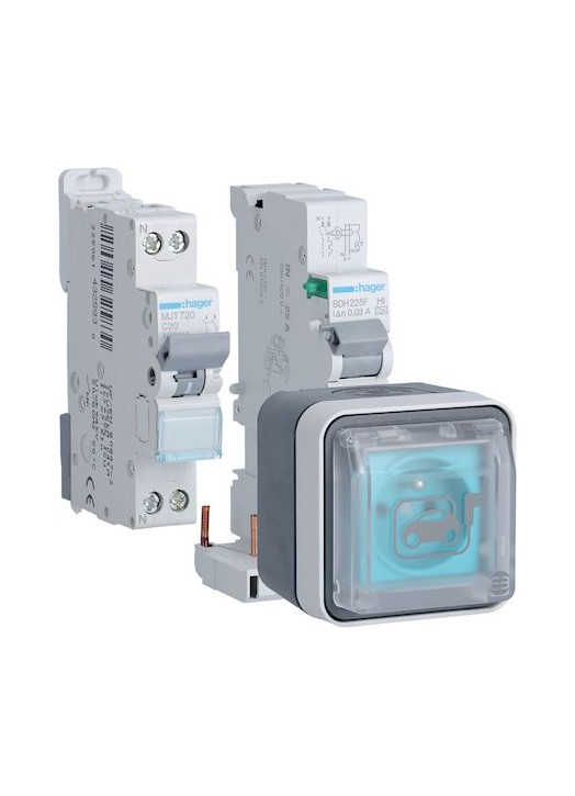 MaWallBox - Prise 3,7 kW HAGER XEV080P avec Protections Incluses